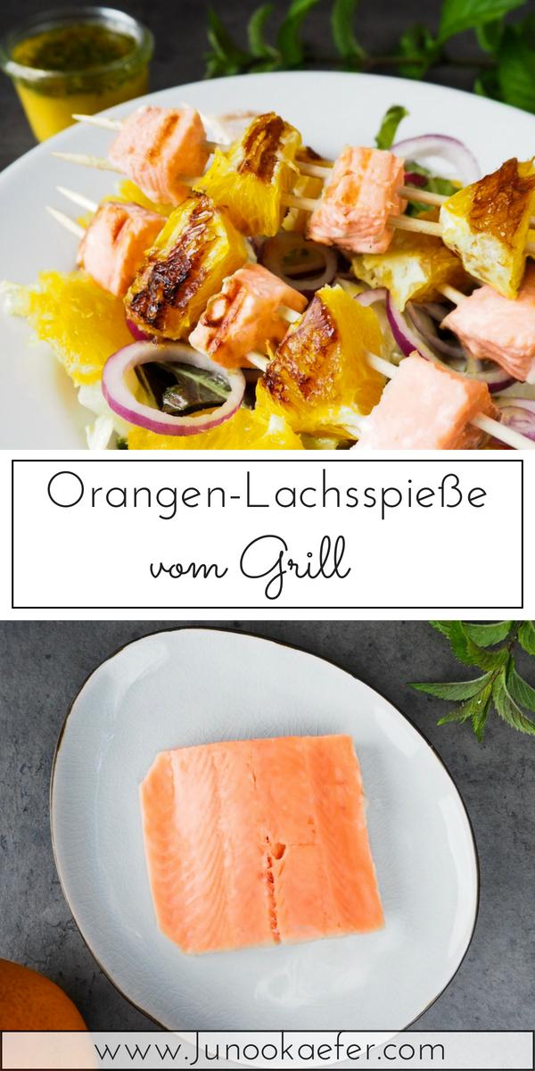 Pinterest-Grafik von gebratenen Lachs auf Teller und unten rohem Lachs auf Teller